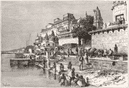 INDIA. Varanasi-view Ghats c1885 old antique vintage print picture